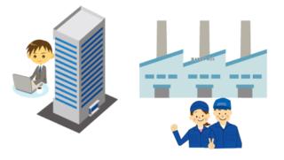 本社と工場のイラスト
